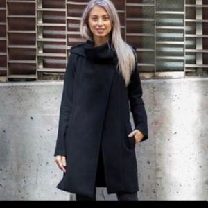 BETABRAND All Day Coat Hooded Snaps Black US Women